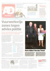 AD 10 juli 2015 'Kerk riddert Van den Tweel - Grootkruis orde van Sint-Silvester'