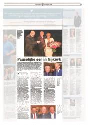 De Telegraaf 13 juli 2015 'Pauselijke eer in Nijkerk'